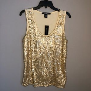 89th & Madison Women's Gold Sequin Tank Top NWT L